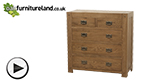 Watch Quercus Rustic Solid Oak 2+3 Chest of Drawers video