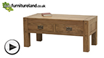 Watch Quercus Rustic Solid Oak 4 Drawer Storage Coffee Table video