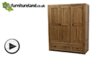 Watch Quercus Rustic Solid Oak Triple Wardrobe video