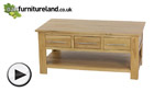 Watch Rivermead Natural Solid Oak 6 Drawer Storage Coffee Table video