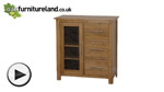 Watch Rivermead Natural Solid Oak 3 Drawer Glazed Media Cabinet video