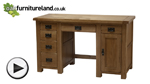 Watch Original Rustic Solid Oak Computer Desk video