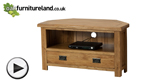 Watch Rustic Solid Oak Corner TV + DVD Cabinet video