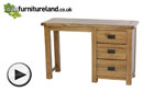 Watch Original Rustic Solid Oak 3 Drawer Dressing Table  video