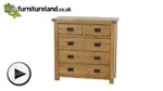 Watch Rustic Solid Oak 3+2 Drawer Chest  video
