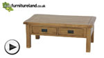 Watch Original Rustic Solid Oak 4 Drawer Storage Coffee Table video
