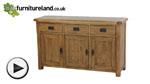 Watch Rustic Solid Oak Large Sideboard video