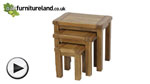 Watch Rustic Solid Oak Nest of 3 Tables video