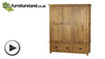 Watch Rustic Solid Oak Triple Wardrobe video