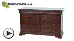 Watch Sleigh Solid Mahogany 6+2 Large Chest of Drawers video