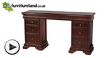 Watch Sleigh Solid Mahogany 6+3 Drawer Dressing Table/Computer Desk video