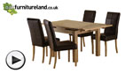 Watch Solid Oak Extending Dining Table 3ft x 3ft + 4 Stitched Brown Leather Chairs (Seats Up 6 People) video