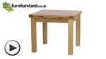 Watch 3ft x 3ft Solid Oak Extending Dining Table (Seats up to 6 people Extended) video