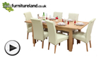 Watch 5ft x 3ft Cairo Solid Oak Extending Dining Table + 6 Cream Leather Scroll Back Dining Chairs video