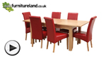 Watch 5ft x 3ft Cairo Solid Oak Extending Dining Table + 6 Red Leather Scroll Back Dining Chairs video