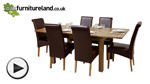 "Watch 4ft 3"" x 3ft Rustic Oak Extending Dining Table + 6 Leather Scroll Back Dining Chairs (Brown) video"
