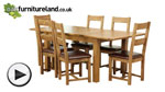 "Watch 4ft 7"" x 3ft Rustic Solid Oak Extending Dining Table + 6 Brown Scroll Back Leather Chairs video"