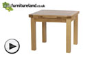 "Watch 4ft 7"" x 3ft Natural Solid Oak Extending Dining Table (Seats up to 8 people Extended) video"