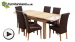 "Watch 4ft 7"" x 3ft Solid Oak Extending Dining Table + 6 Brown Leather Scroll Back Chairs video"