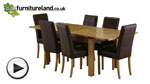 "Watch 4ft 7"" x 3ft Solid Oak Extending Dining Table + 6 Brown Leather Stitch Back Chairs video"