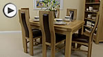 "Watch Dorset 4ft 7"" x 3ft Solid Oak Extending Dining Table + 6 Cream Curve Back Chairs video"