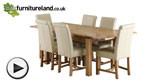 "Watch 4ft 7"" x 3ft Solid Oak Extending Dining Table + 6 Cream Leather Braced Scroll Back Chairs video"