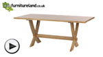 Watch 6ft x 3ft Solid Oak Crossed Leg Dining Table video