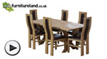 Watch 6ft x 3ft Solid Oak Crossed Leg Dining Table + 6 Curved Back Brown Leather Chairs video