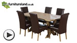 Watch 6ft x 3ft Solid Oak Crossed Leg Dining Table + 6 Scroll Back Brown Leather Chairs video