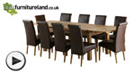 Watch 6ft x 3ft Solid Oak Extending Dining Table + 10 Brown Leather Scroll Back Chairs video