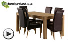 Watch Alto Natural Solid Oak 6ft x 3ft Dining Table + 6 Brown Scroll back chairs video