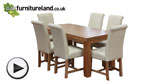"Watch Chunky 5ft x 2ft 6"" Solid Oak Dining Table + 6 Braced Cream Scroll Back Leather Chairs video"