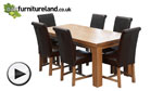 Watch Chunky 6ft x 3ft Solid Oak Dining Table + 6 Black Leather Braced Chairs video