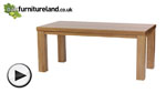 Watch Contemporary 6ft x 3ft Natural Solid Oak Dining Table video