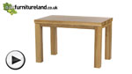 "Watch Contemporary Chunky 4ft x 2ft 6"" Natural Solid Oak Dining Table video"