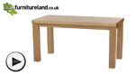"Watch Contemporary Chunky 5ft x 2ft 6"" Natural Solid Oak Dining Table video"