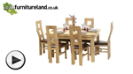 "Watch Dorset 4ft 7"" x 3ft Solid Oak Extending Dining Table + 6 Brown Wave Back Chairs video"