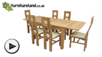 Watch 4ft 7&#34; x 3ft Solid Oak Extending Dining Table + 6 Cream Wave Back Chairs video