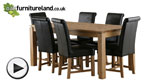 "Watch Galway 6ft x 2ft 8"" Natural Solid Oak Dining Table + 6 Black Braced Scroll Back Leather Chairs video"