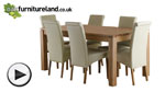 "Watch Galway 6ft x 2ft 8"" Natural Solid Oak Dining Table + 6 Cream Scroll Back Leather Chairs video"