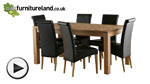 Watch Galway 6ft x 2ft 8&#34; Solid Oak Dining set + 6 Black Scroll Back Real Leather Chairs video