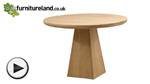 Watch Solid Oak Round Table with Pyramid Base video
