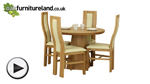 Watch Solid Oak Round Dining Table with Pyramid Base + 4 Cream Curve Back Chairs video