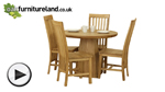 Watch Solid Oak Round Dining Table with Pyramid Base + 4 Solid Oak High Slat Back Dining Chair video