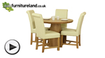Watch Provence Solid Oak Round Dining Table with Pyramid Base + 4 Braced Cream Leather Chairs video