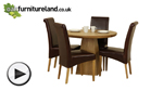 Watch Solid Oak Round Dining Table with Pyramid Base + 4 Brown Leather Chairs video