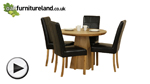 Watch Solid Oak Round Dining Table with Pyramid Base + 4 Black Stitch Back Chairs video