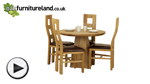 Watch Solid Oak Round Dining Table with Pyramid Base + 4 Brown Wave Back Chairs video