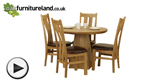 Watch Solid Oak Round Dining Table with Pyramid Base + 4 Arched Back Solid Oak Dining Chairs video
