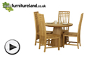 Watch Solid Oak Round Dining Table with Pyramid Base + 4 Solid Oak Lattice Back Dining Chair video